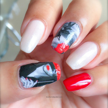 Girl With Red Umbrella nail art by Demi