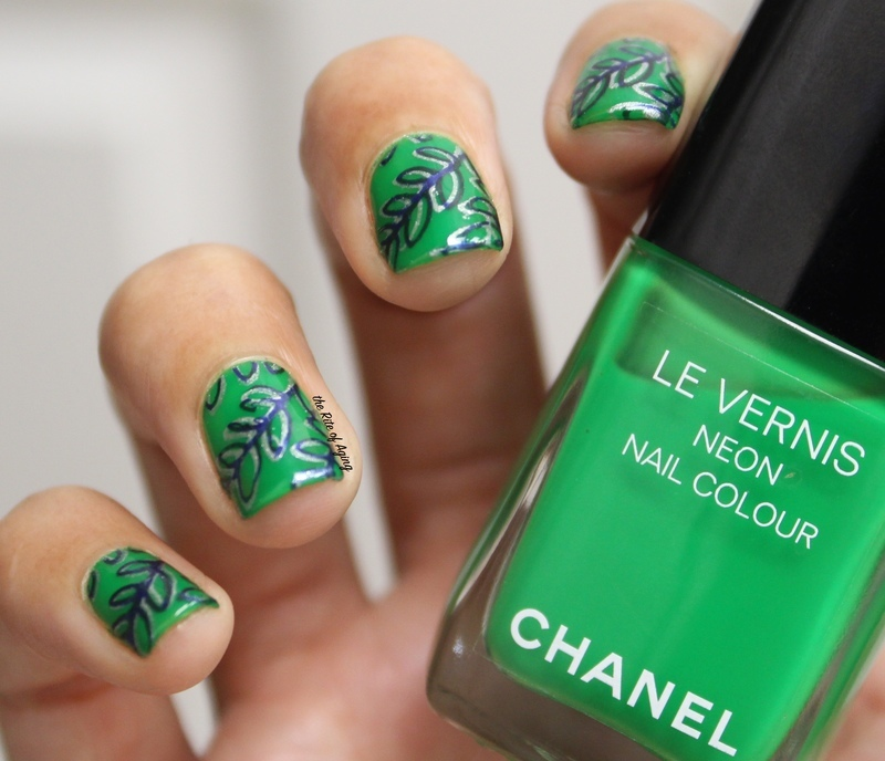 Double Stamped Green Leaves nail art by Monica