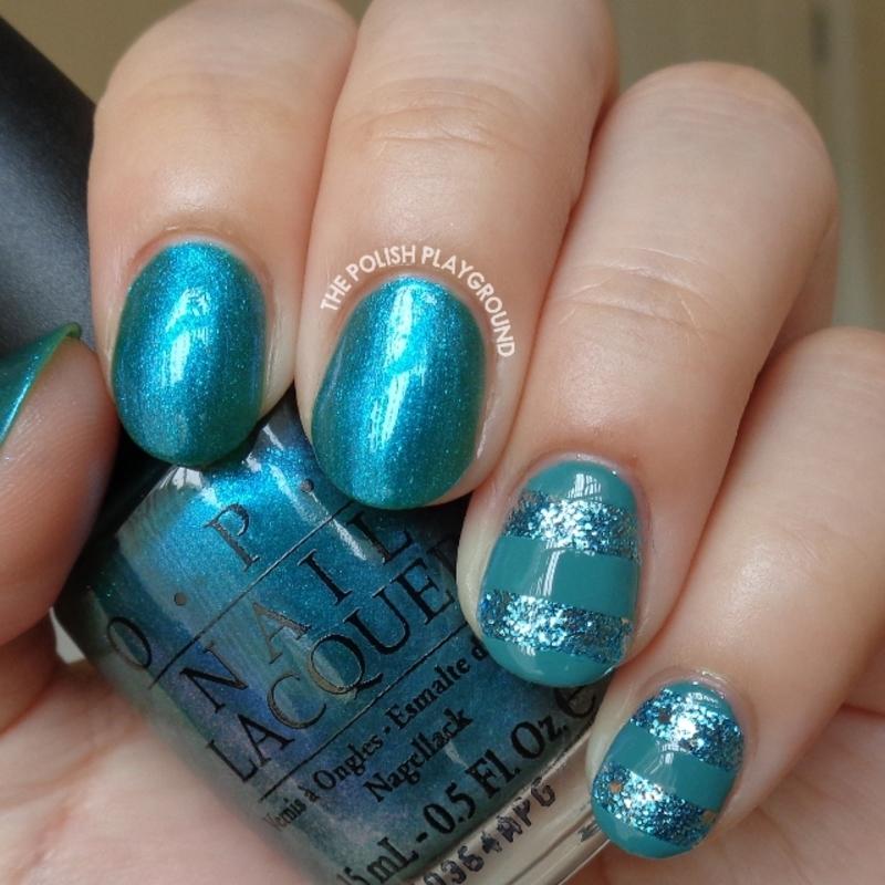 Blue Glitter Stripes Nail Art nail art by Lisa N