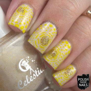 Yellow abstract sunshine pattern nail art 4 thumb370f