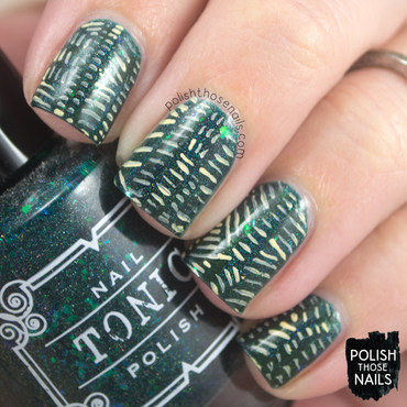 Green flakie line pattern nail art 4 thumb370f