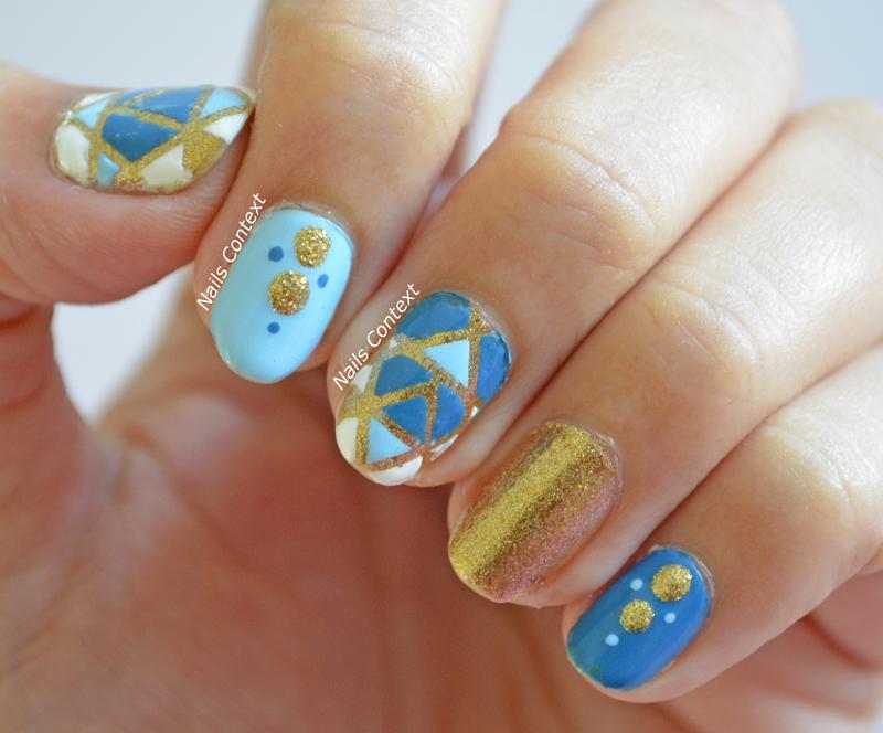 Blue and Gold Nails  nail art by NailsContext