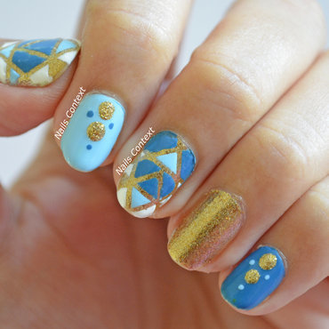 Blue and Gold Nails  nail art by NailsContext