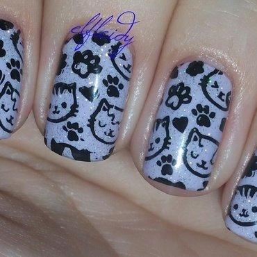 Purple kitties nail art by Jenette Maitland-Tomblin