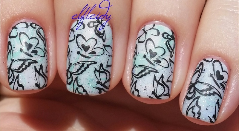 Stamped pastel water marble nail art by Jenette Maitland-Tomblin