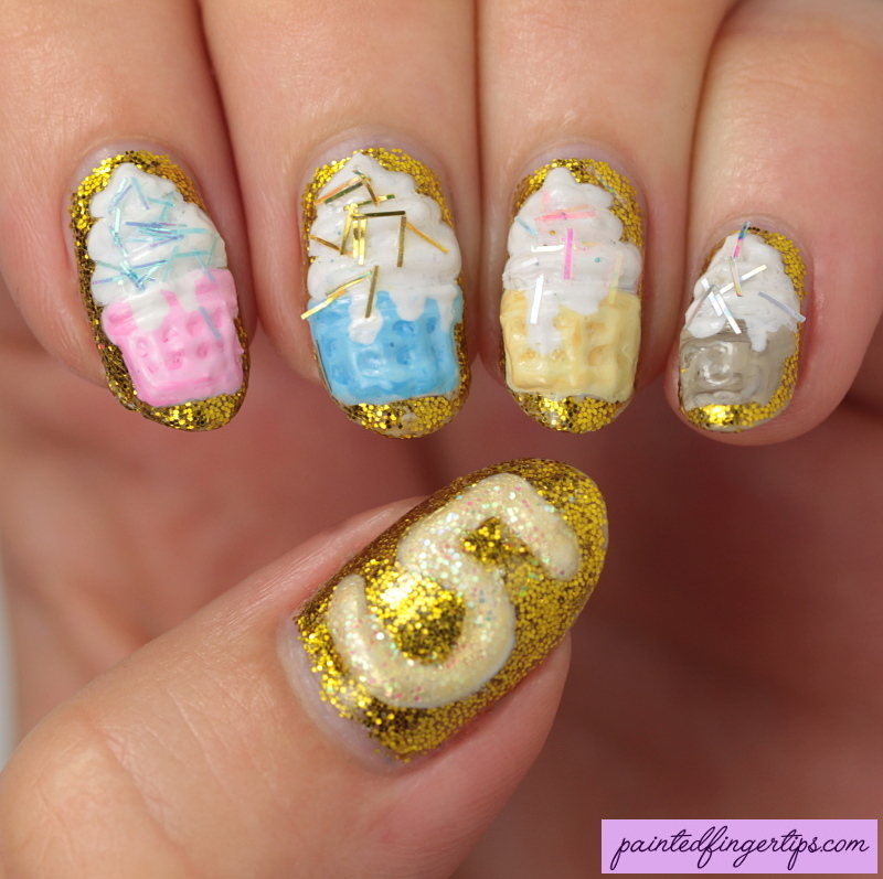 3D cupcakes nail art by Kerry_Fingertips