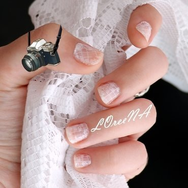 White Floral Lace Design nail art by LOreeNA
