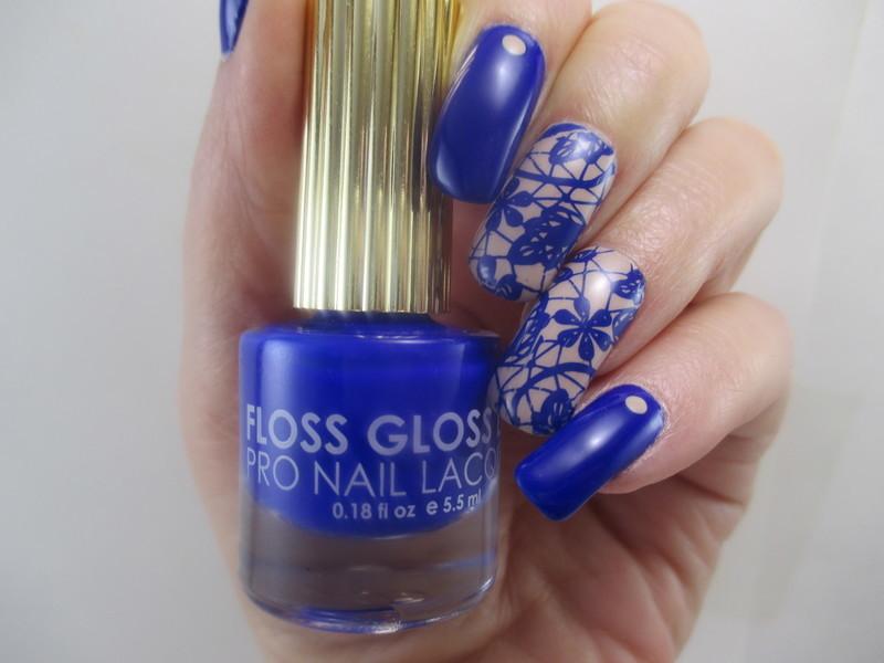 Blue Lace nail art by NinaB