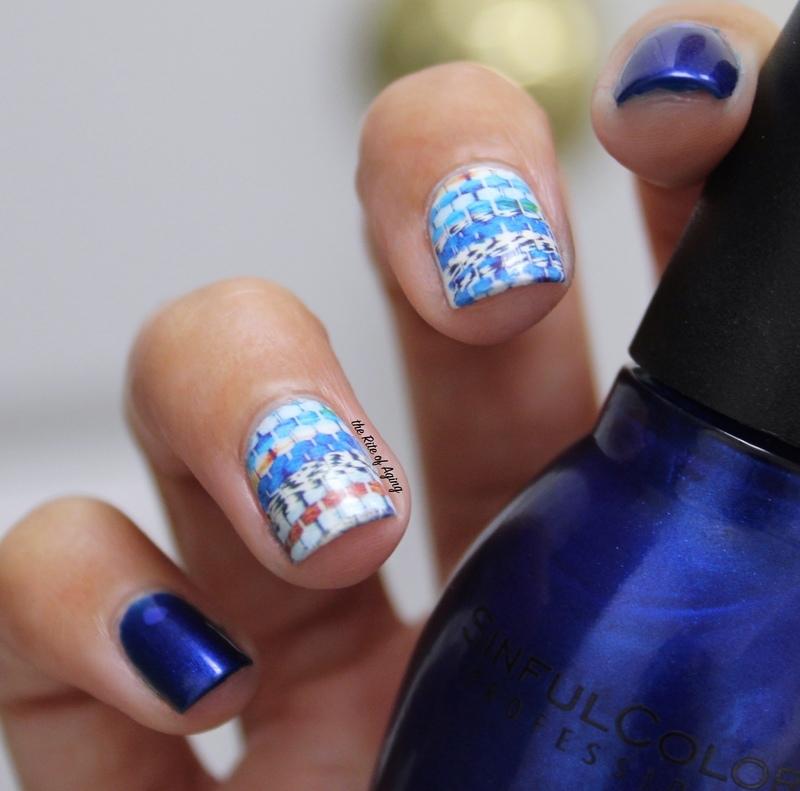 Blue Plaid Water Decal Nail Art nail art by Monica