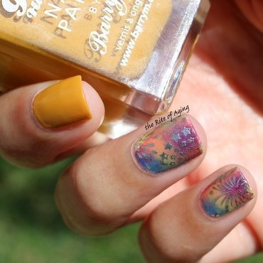Sponged Rainbow Fireworks nail art by Monica