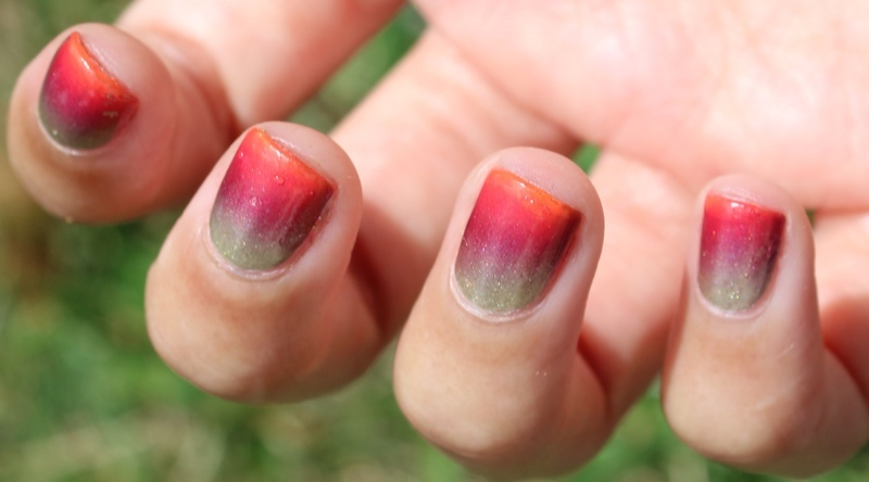 Neon Sunset Gradient nail art by Monica