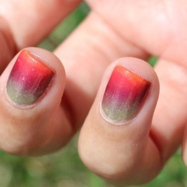 Neon Sunset Gradient nail art by Monica
