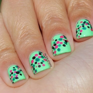 Green & Pink Confetti Dots nail art by Monica
