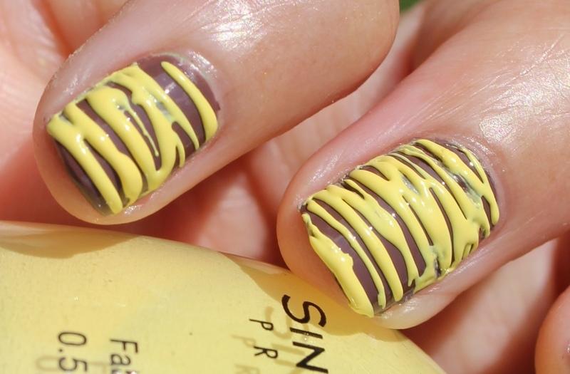 Yellow Sugar-Spun Stripes nail art by Monica