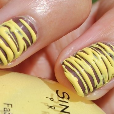Yellow Sugar-Spun Stripes nail art by Monica
