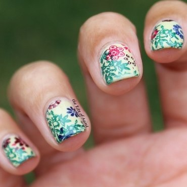 Stamped Flowers on Vine nail art by Monica