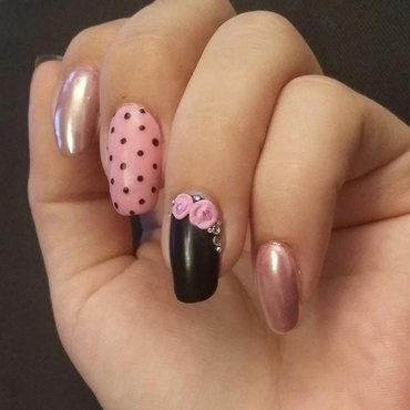 Matte & shiny nail art with 3D roses nail art by mariejane