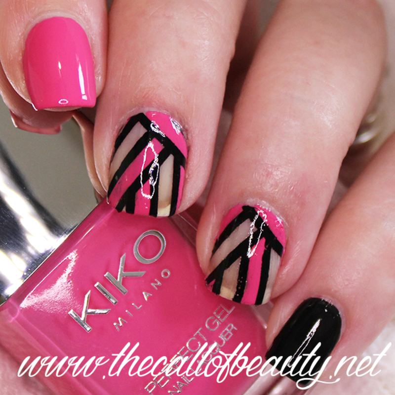 Negative Space Stripes nail art by The Call of Beauty