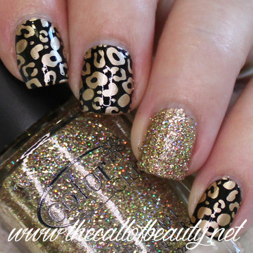 Black & Gold Leopard Print  nail art by The Call of Beauty