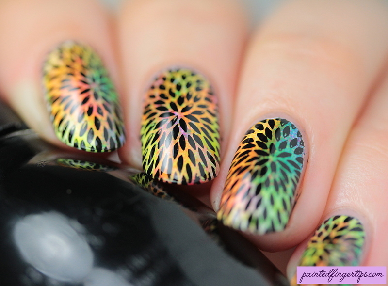 Stamping over neons nail art by Kerry_Fingertips