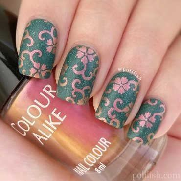 Duochrome floral design nail art by polilish