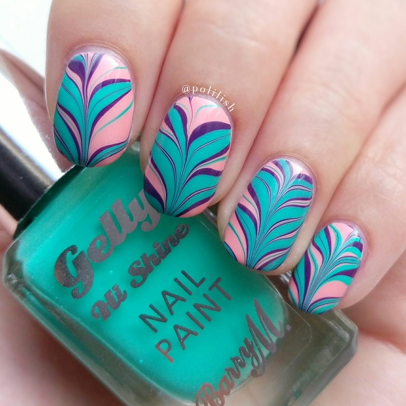 Summery watermarble design nail art by polilish