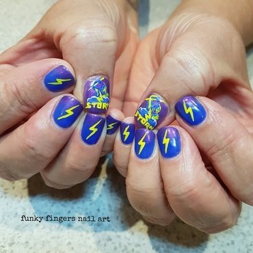 Melbourne  storm 8 nail art by Funky fingers nail art