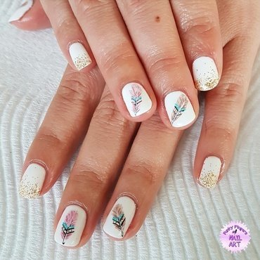 Feather nails nail art by Funky fingers nail art