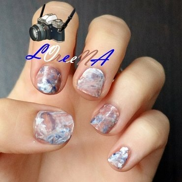 Marbled design  -  my first attempt nail art by LOreeNA