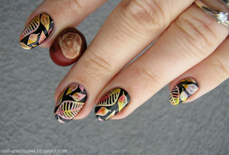 Happy colorful leaves nail art by Nail Crazinesss