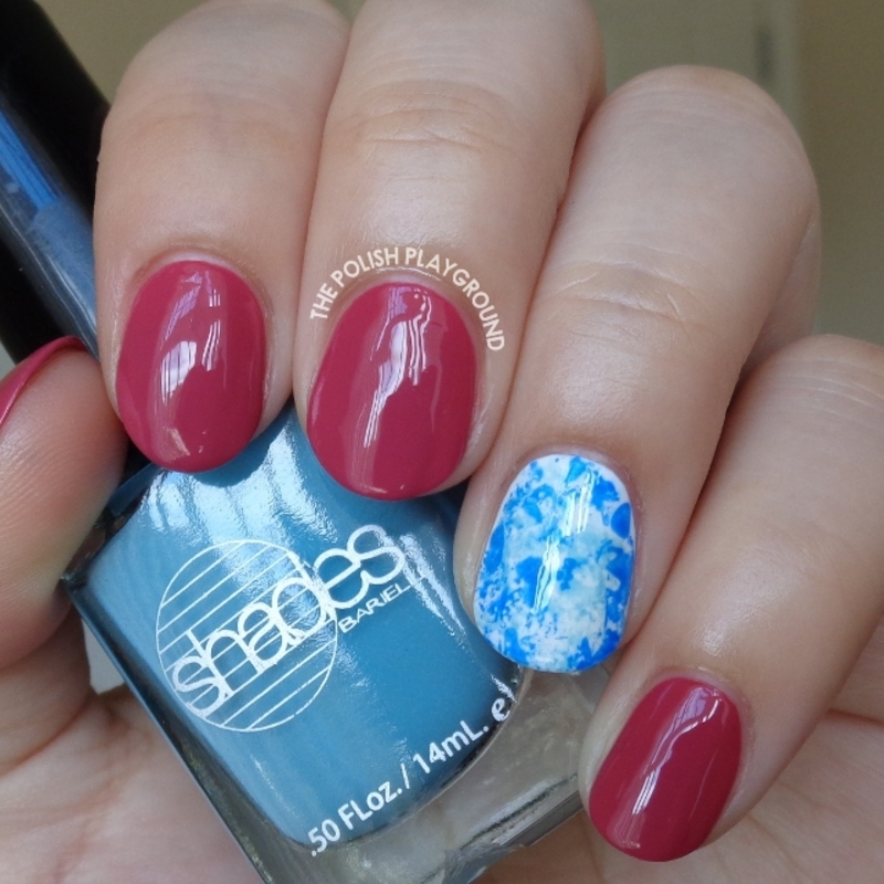 Fall Pink with Blue Saran Wrap Accent nail art by Lisa N