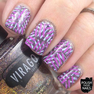 Purple holo glitter bold line pattern nail art 4 thumb370f