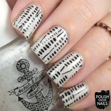White flakie glitter black stripe nail art 4 thumb370f