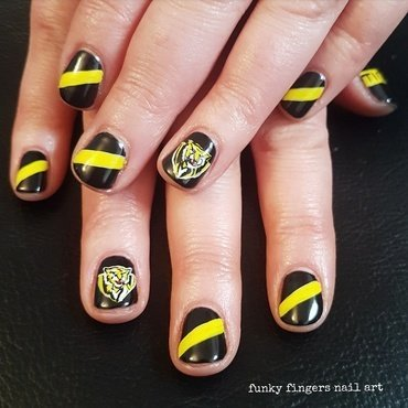 Richmond Tigers nails  nail art by Funky fingers nail art