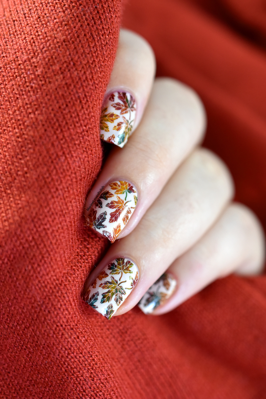 Autumn leaves nail art by Marine Loves Polish