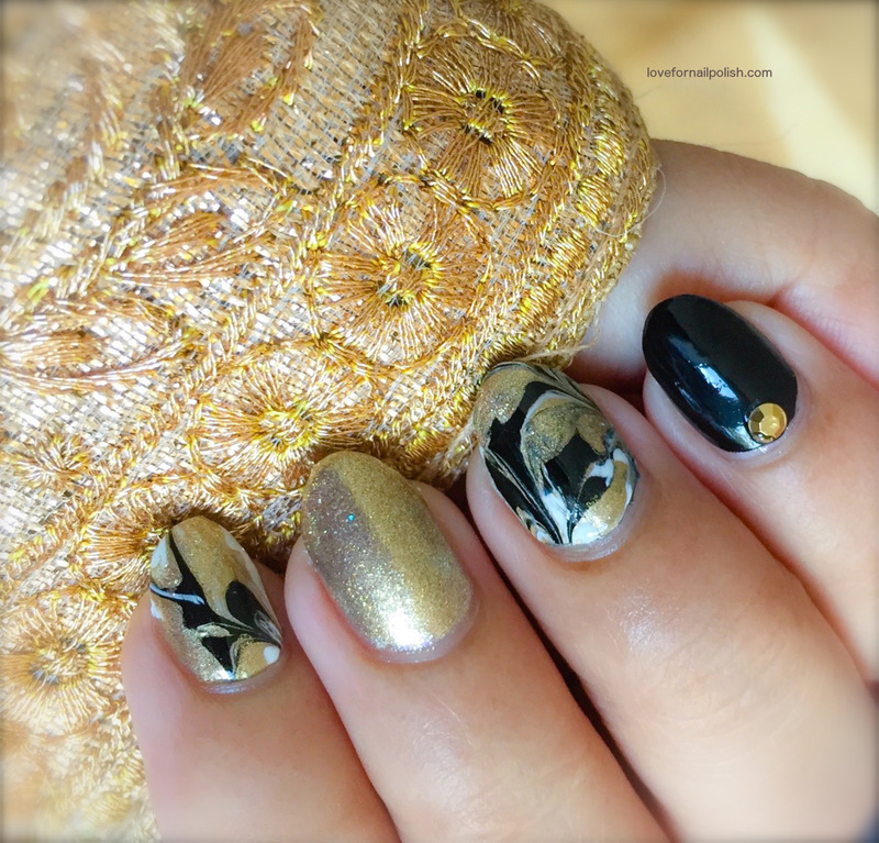 Gold, Black and White Marble Nails with No Water nail art by Demi ...