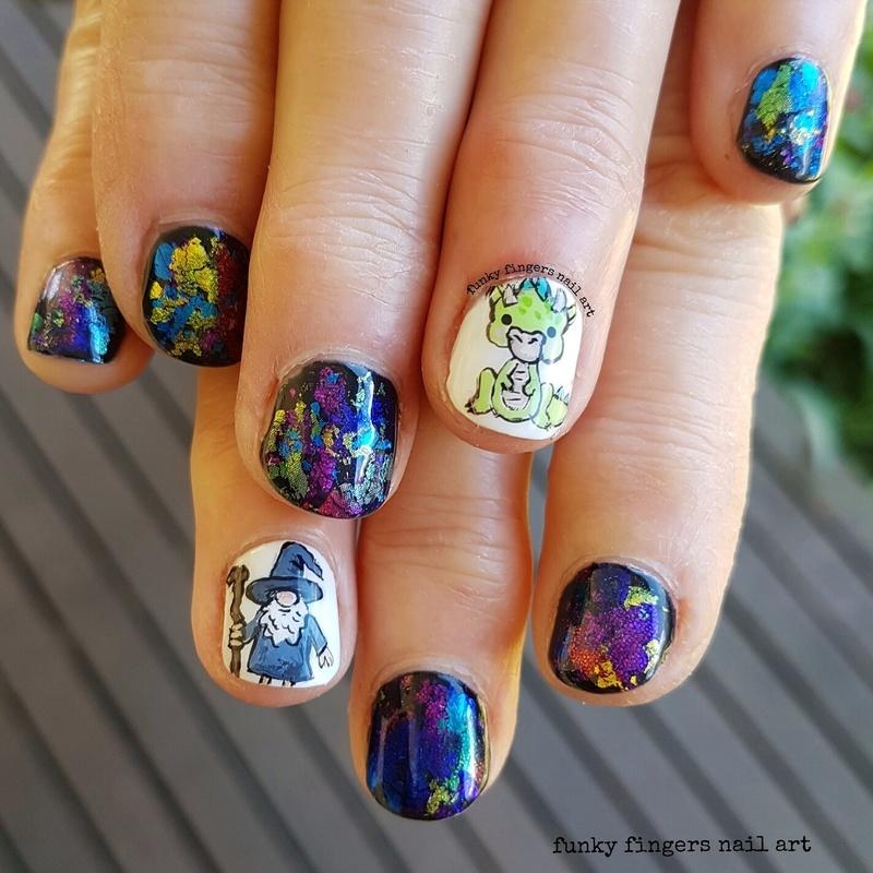 Wizard And Dragon Nails Nail Art By Funky Fingers Nail Art