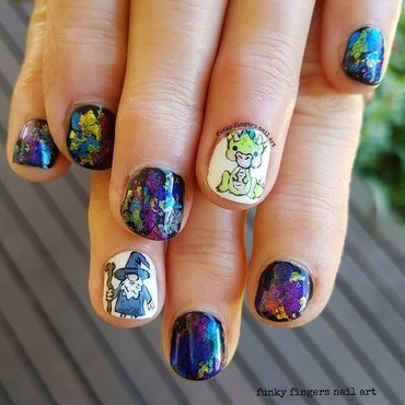 Wizard and dragon nails nail art by Funky fingers nail art