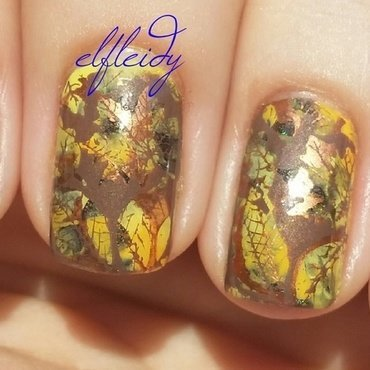 Leaves nail art by Jenette Maitland-Tomblin