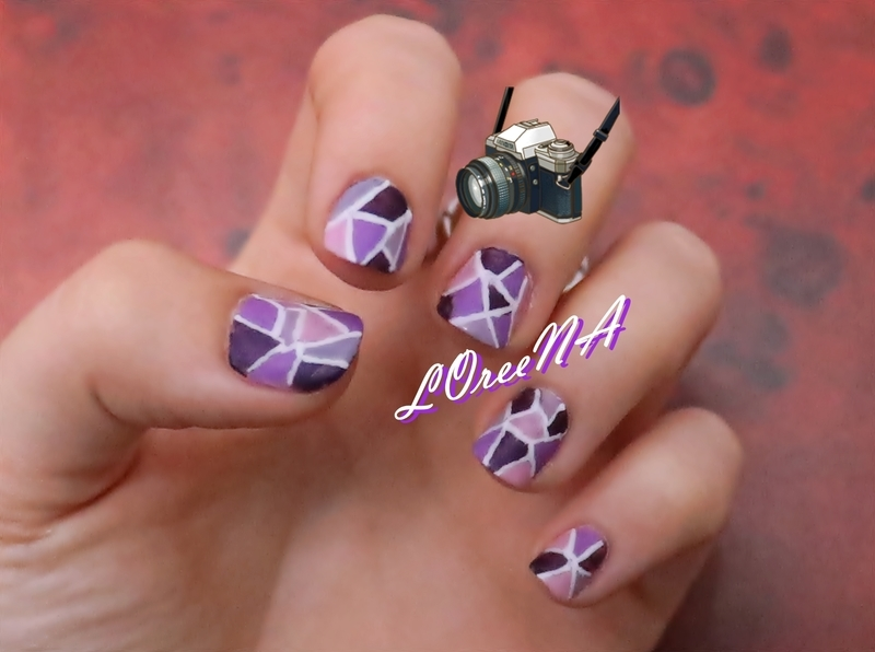 Purple Stained Glass Matte Design nail art by LOreeNA