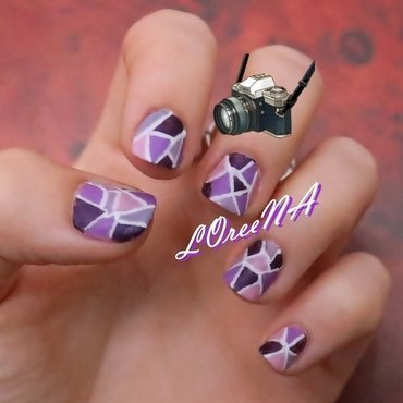 Purple Stained Glass Matte Design nail art by LOreeNA