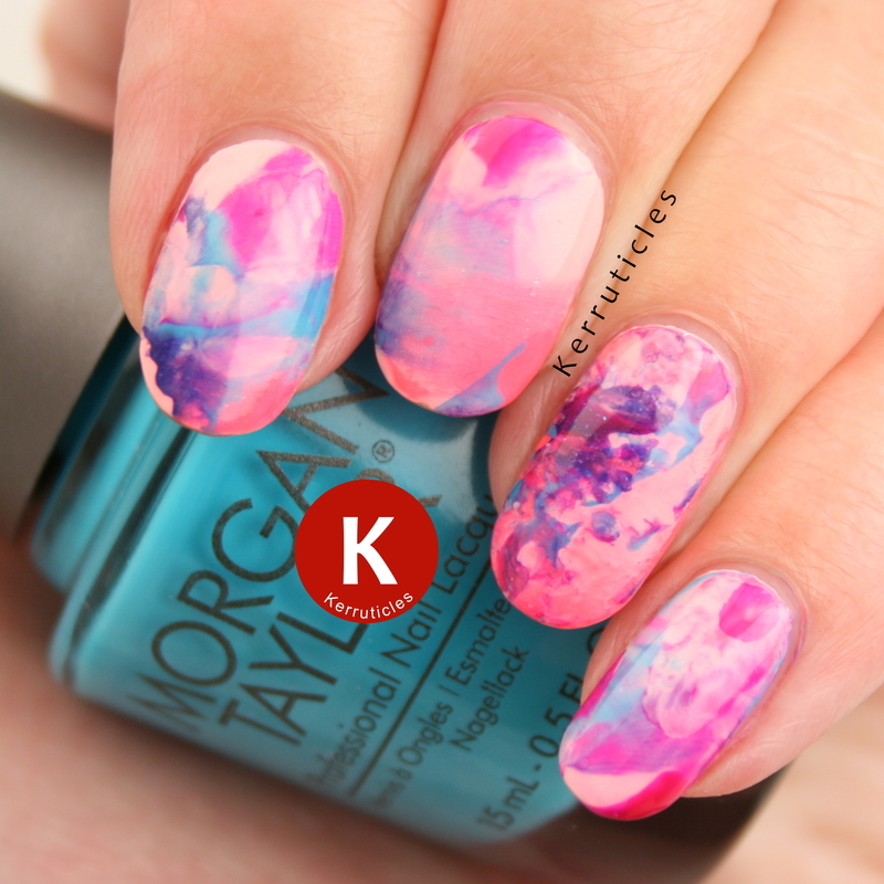 Neon brights stamping marble smoosh nail art by Claire Kerr