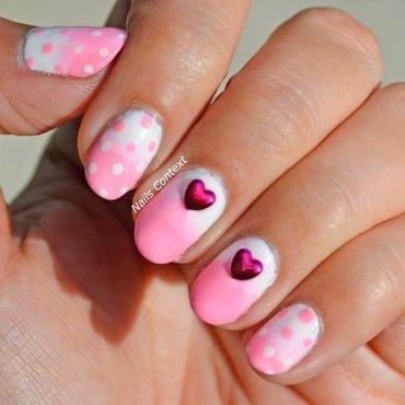 Ombre Hearts  nail art by NailsContext