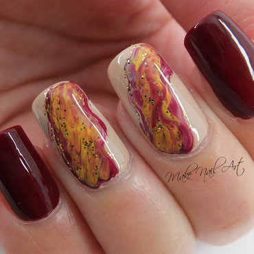 Autumn Waterfall  nail art by Make Nail Art