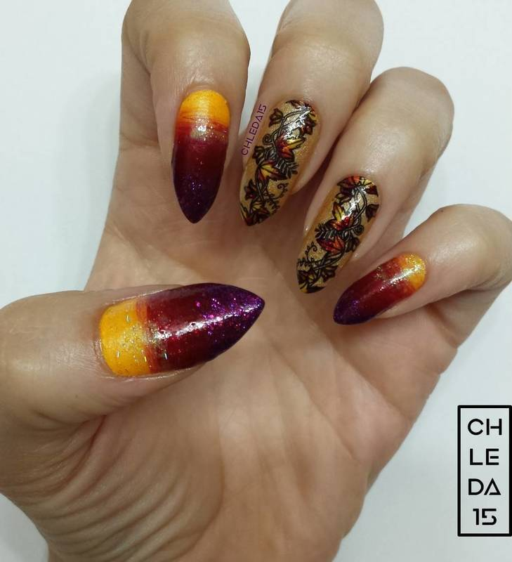 Glistening Autumn Leaves nail art by chleda15