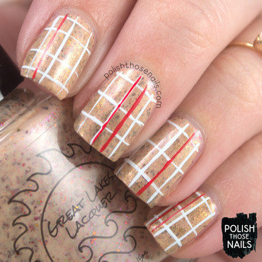Neutral flakie grid paper pattern nail art 4 thumb370f