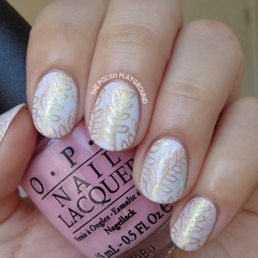 Pink 20and 20gold 20double 20leaf 20stamping 20nail 20art thumb370f