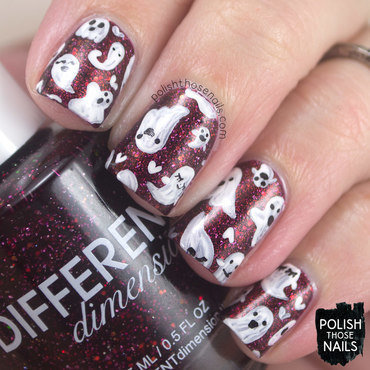 Red shimmer ghost pattern nail art 4 thumb370f