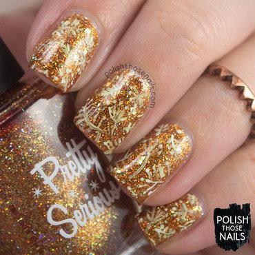 Gold glitter sparkle floral pattern nail art 4 thumb370f