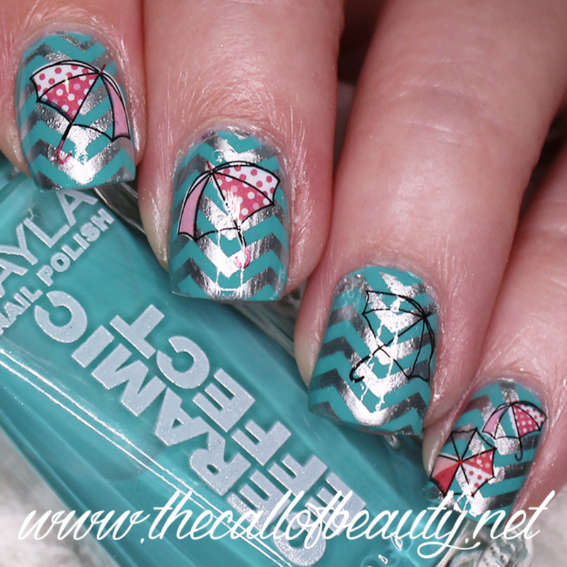 Umbrella nail art by The Call of Beauty - Nailpolis: Museum of Nail Art